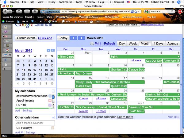 Construction Progress Calendar for Client Projects